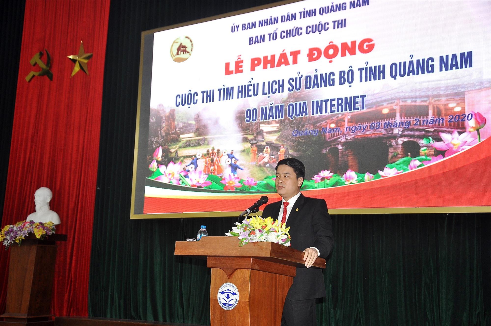 Phó Chủ tịch UBND tỉnh Trần Văn Tân phát biểu tại lễ phát động. Ảnh: VINH ANH