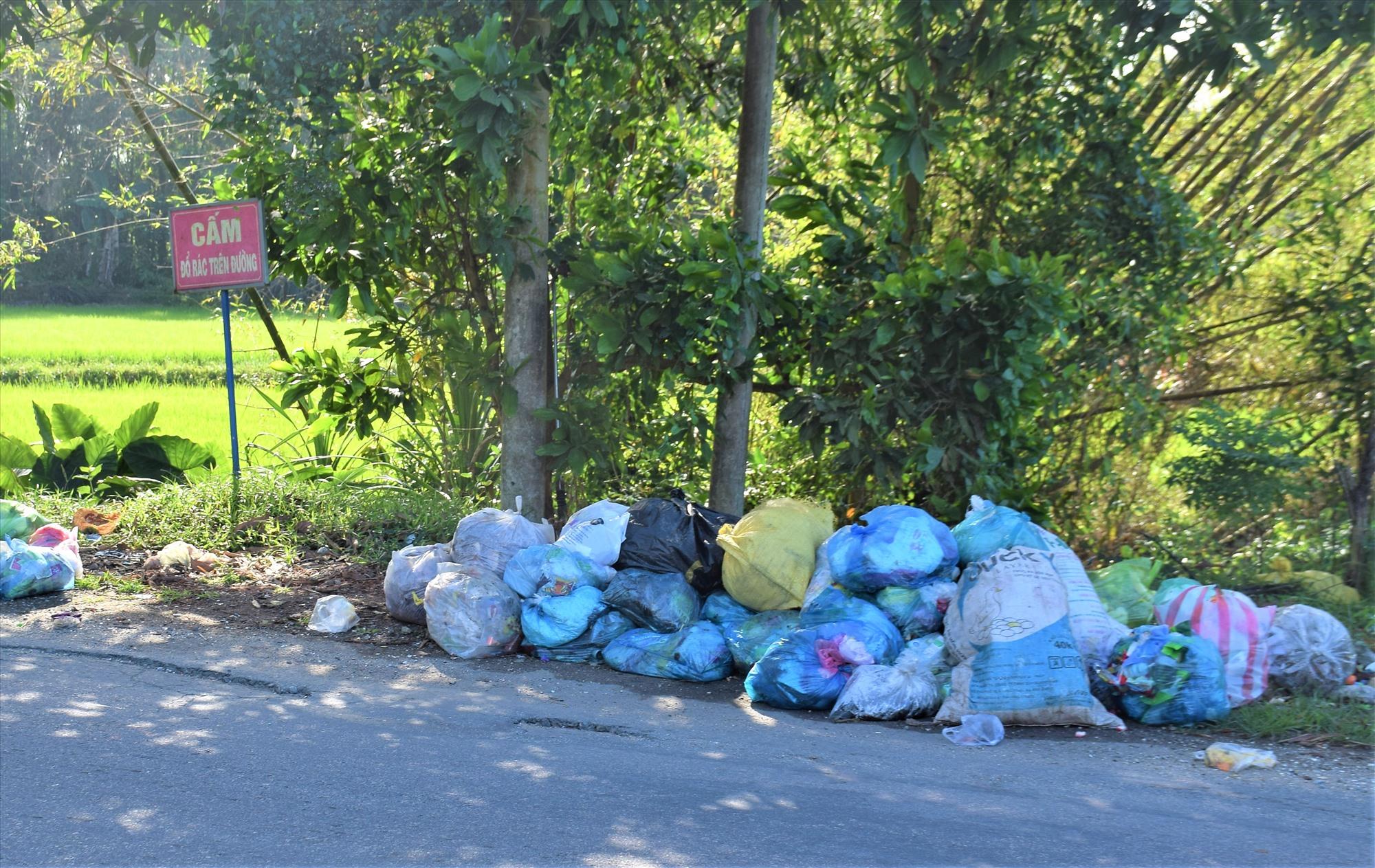 Người dân tập kết rác thải trên ven đường quốc lộ 40B. Ảnh: THANH THẮNG
