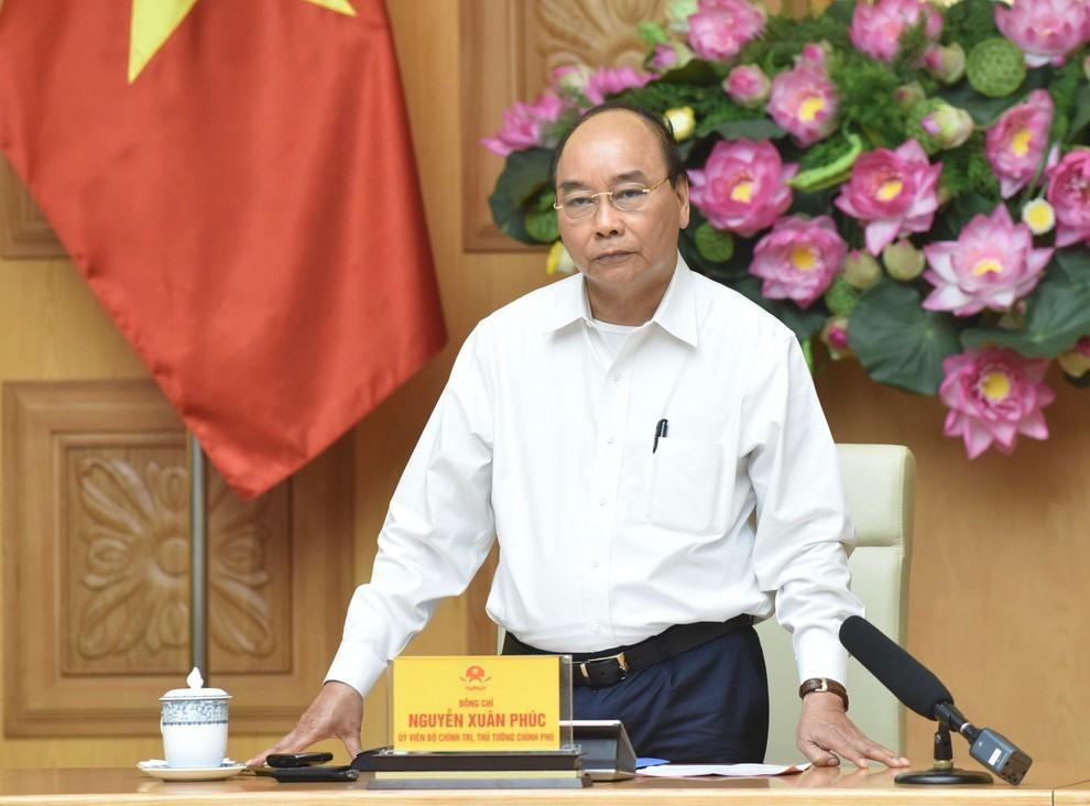Thủ tướng Nguyễn Xuân Phúc chủ trì họp Thường trực Chính phủ về phòng chống Covid-19. Ảnh: VOV