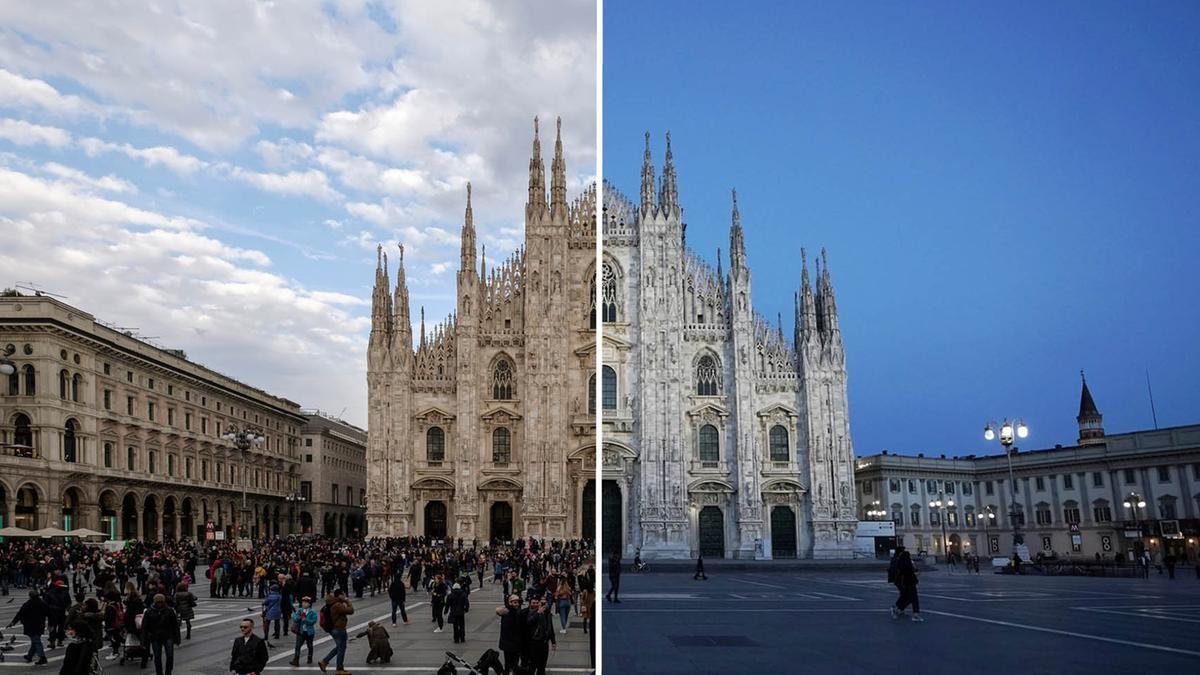 Một điểm đến nổi tiếng ở thành phố Milan, Italia trước và trong mùa Covid-19. Ảnh: Gettyimages