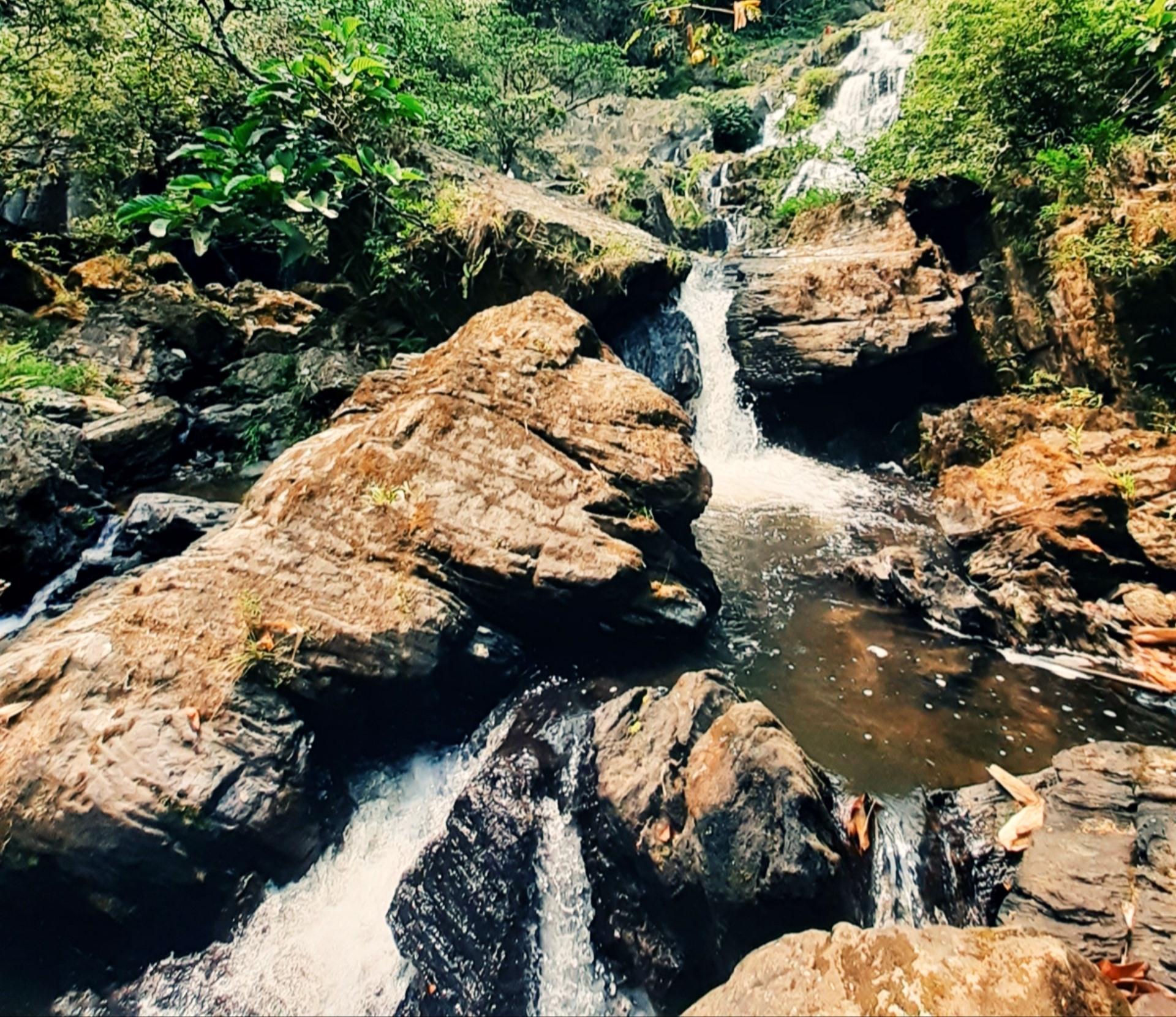 Sự hòa quyện giữa dòng nước, thác đá, cùng sinh vật cảnh tự nhiên giữa rừng như tăng thểm sự cuốn hút cho thác R'măng kỳ thú. Ảnh: N.L