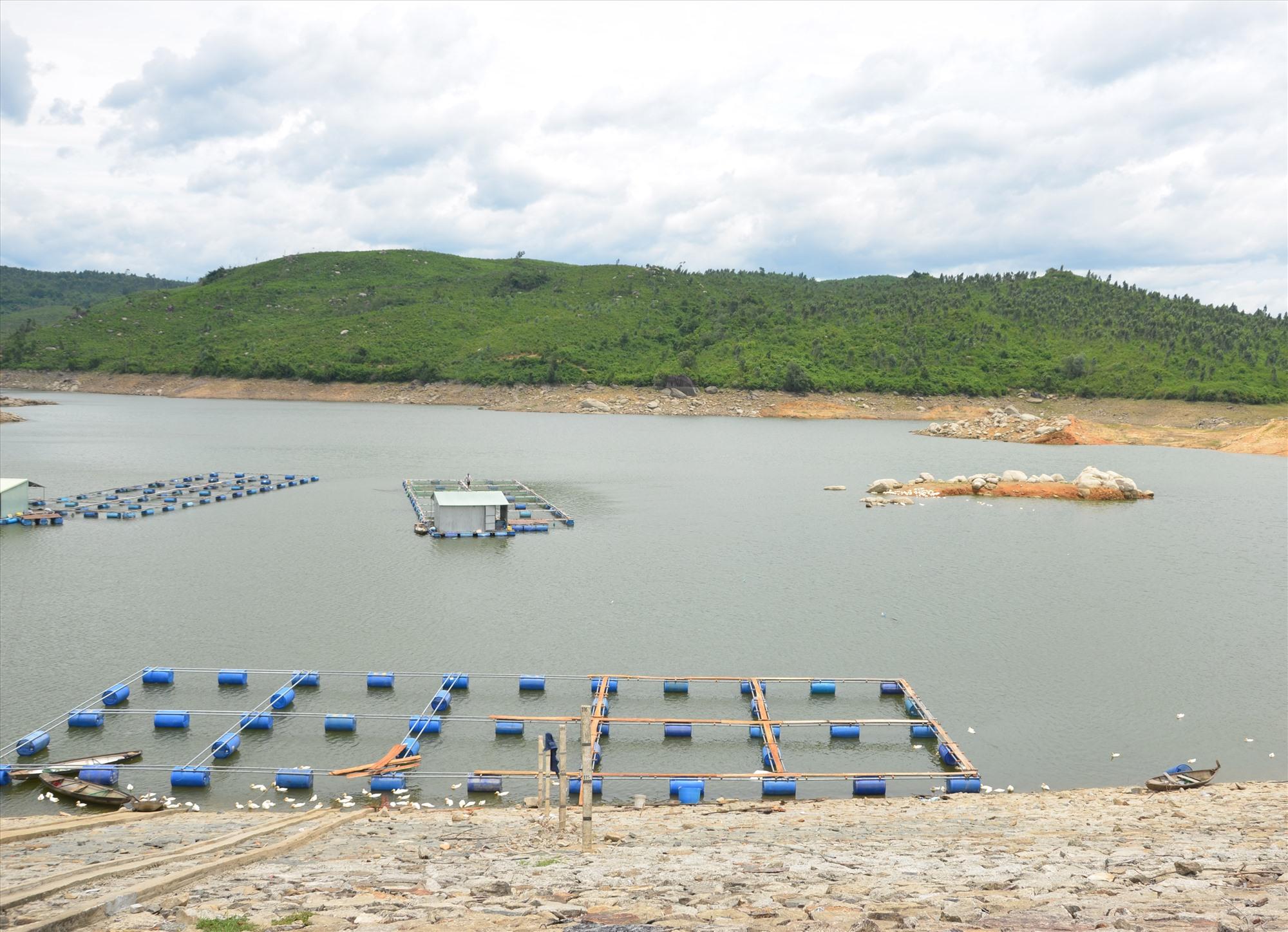 Hồ chứa nước thủy lợi của nhiều địa phương thiếu nước phục vụ tưới tiêu. TRONG ẢNH: Hồ thủy lợi ở đập Trà Cân, xã Đại Hiệp (Đại Lộc). Ảnh: T.H