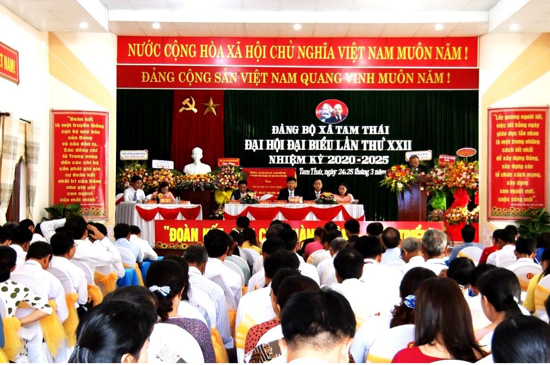 Đại hội đại biểu Đảng bộ xã Tam Thái lần thứ XXII, nhiệm kỳ 2020 - 2025. Ảnh: Q.V