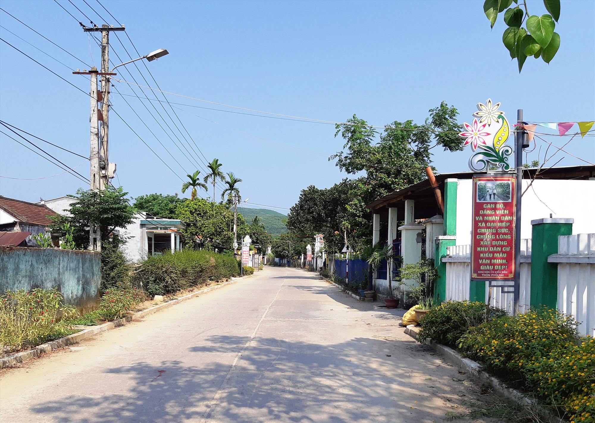 Làng quê nông thôn mới Đại Hiệp thay da đổi thịt từng ngày. Ảnh chụp tại khu dân cư thôn Phú Hải. Ảnh: HOÀNG LIÊN