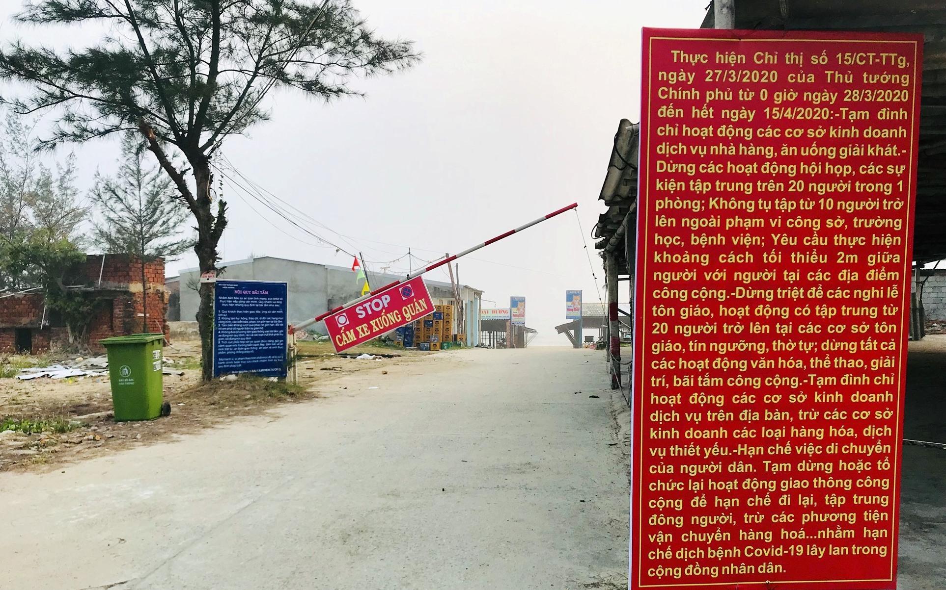 Biển Thống Nhất (phường Điện Dương) đã tạm dừng hoạt động để bảo đảm an toàn cho cộng đồng. Ảnh: Q.T