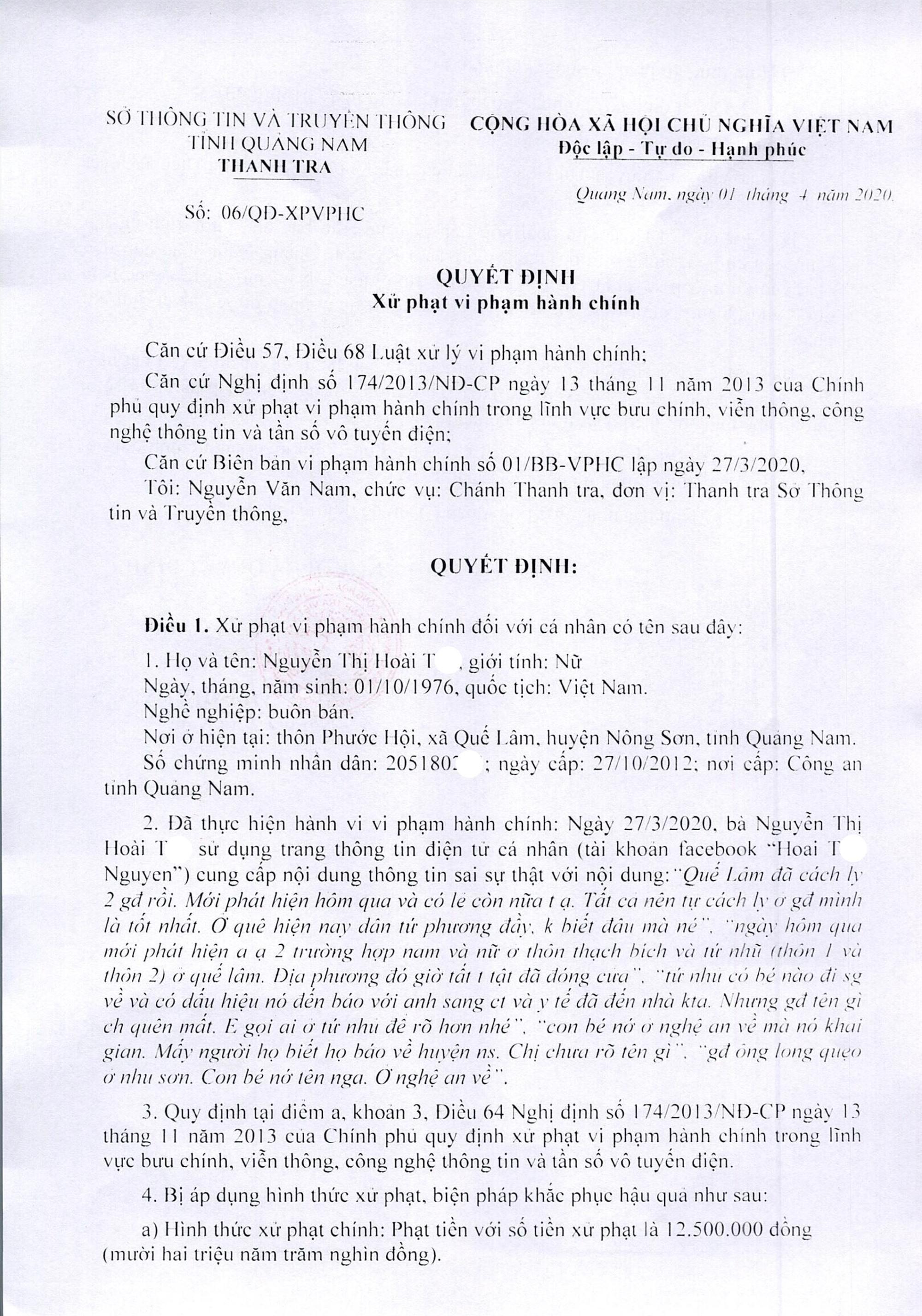 Quyết định xử phạt của Sở TT-TT đối với bà Nguyễn Thị Hoài T.