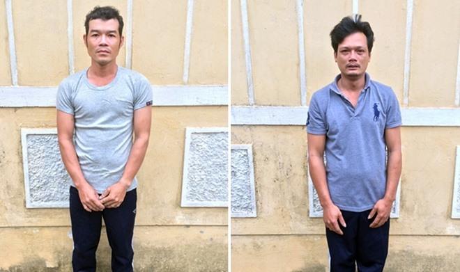 Đối tượng Tài (trái) và Tình tại cơ quan điều tra. Ảnh: Công an cung cấp