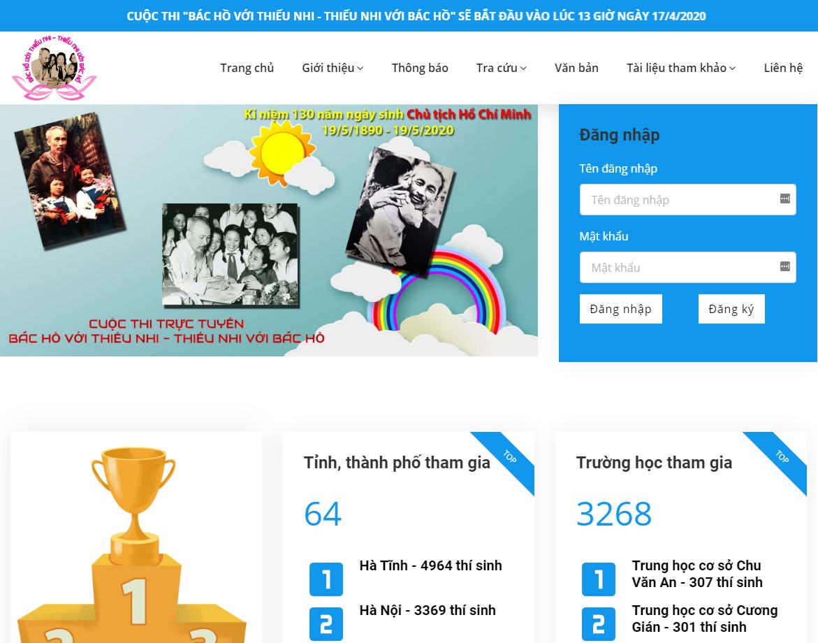 Giao diện website http://BacHovoithieunhi.vn. Ảnh chụp màn hình