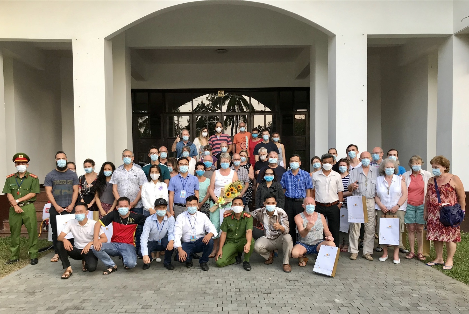 Tourists isolated and the work team in the Hoi An Beach Resort