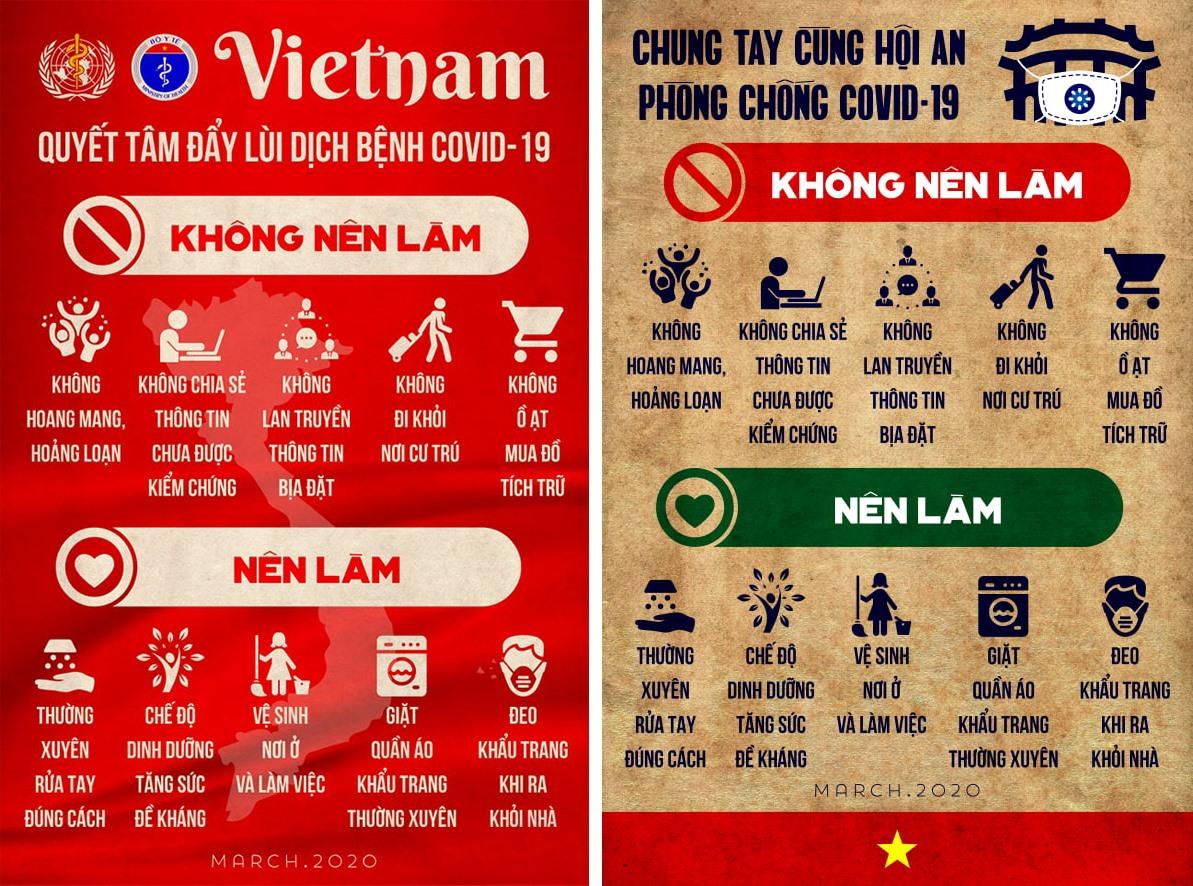 Hai trong những poster phòng chống dịch của Đỗ Thành Trung. (Ảnh từ nhân vật cung cấp).