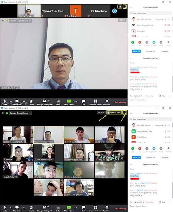 ThS. Nguyễn Trung Thuận - Giám đốc Trung tâm Đào tạo trực tuyến và bằng 2 DTU đang lên lớp trực tuyến cùng sinh viên. Ảnh: X.L