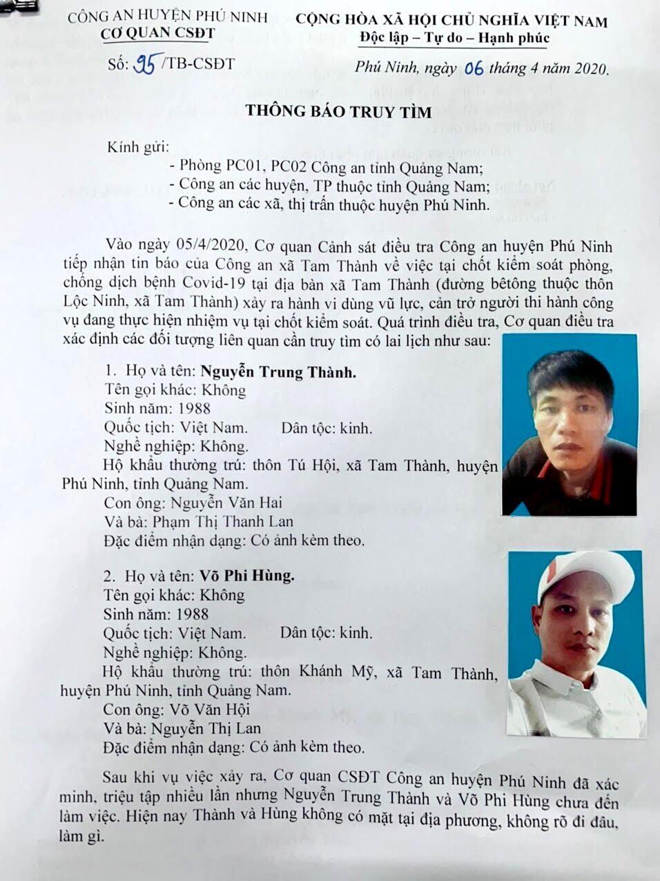 Công an Phú Ninh ra Thông báo truy tìm 2 đối tượng Phi và Hùng. Ảnh: H.C