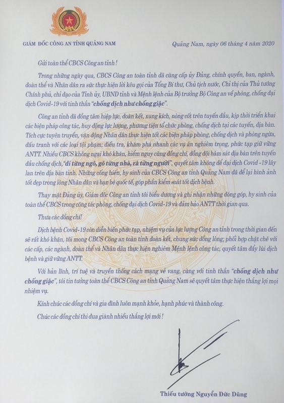 Lá thư của Thiếu tướng Nguyễn Đức Dũng gửi cán bộ chiến sĩ