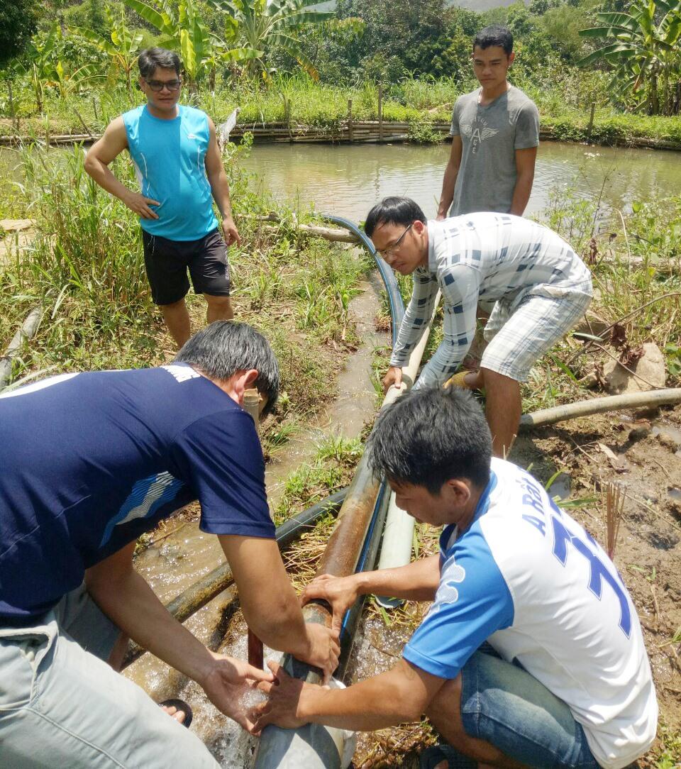Cán bộ giáo viên, nhân viên và phụ huynh, học sinh Trường THPT Quang Trung bắt đường ống đưa nước từ đầu nguồn về trường. Ảnh: Đ.GIANG.