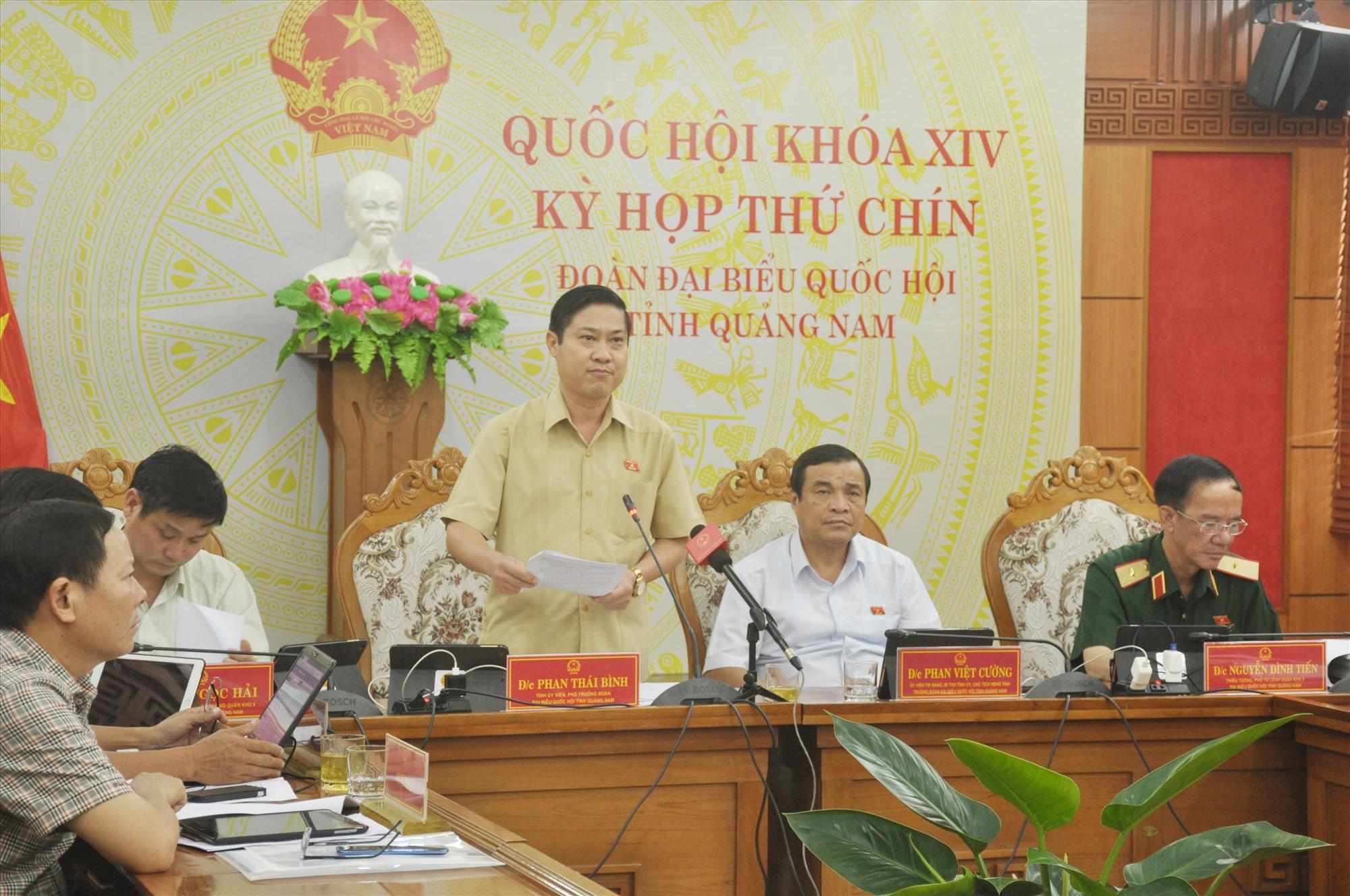 Phó Trưởng đoàn ĐBQH tỉnh Phan Thái Bình phát biểu thảo luận chiều nay 21.5. Ảnh: N.Đ