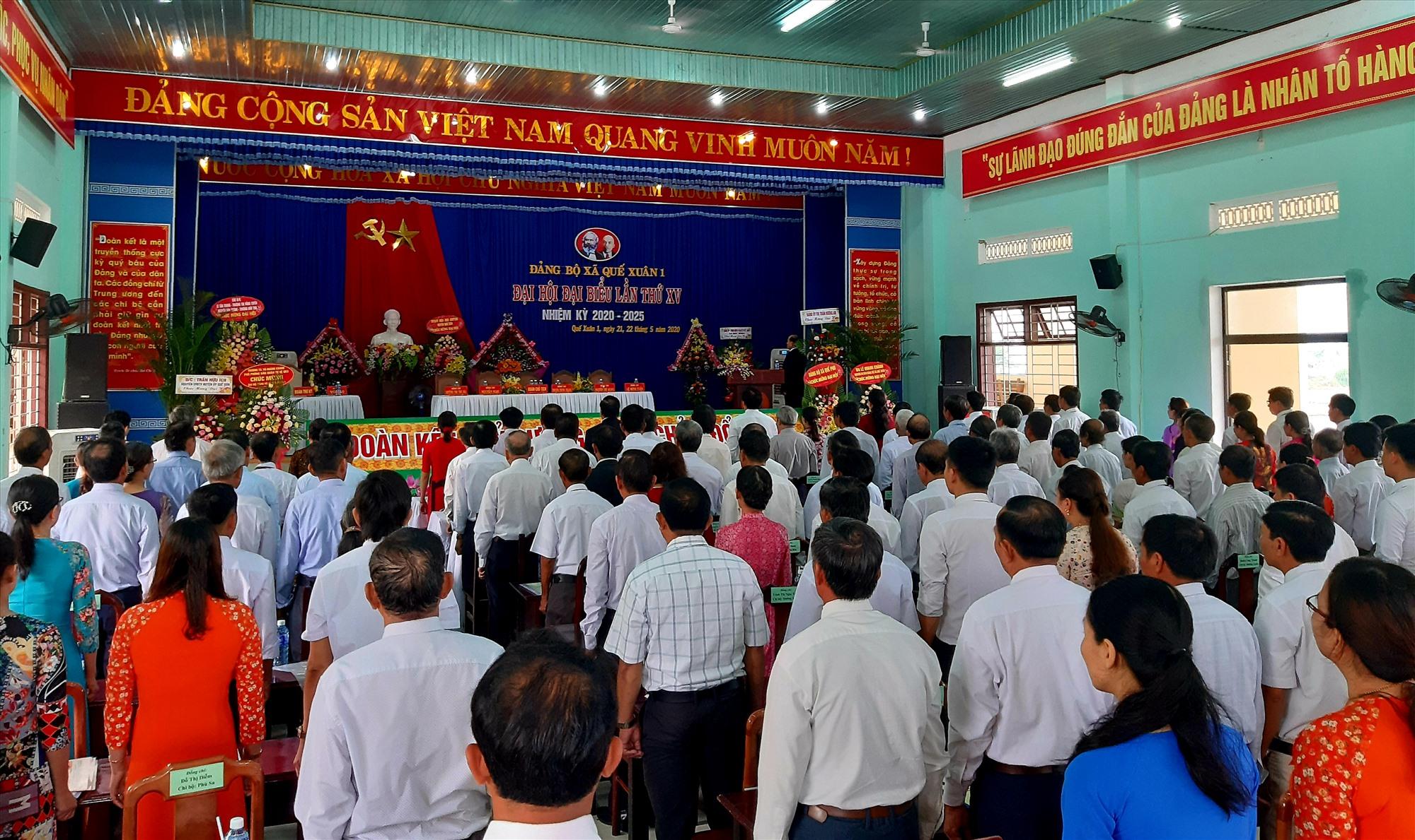 Quang cảnh phiên chính thức Đại hội Đảng bộ xã Quế Xuân 1 lần thứ XV (nhiệm kỳ 2020 – 2025) diễn ra sáng nay 22.5.  Ảnh: VĂN SỰ