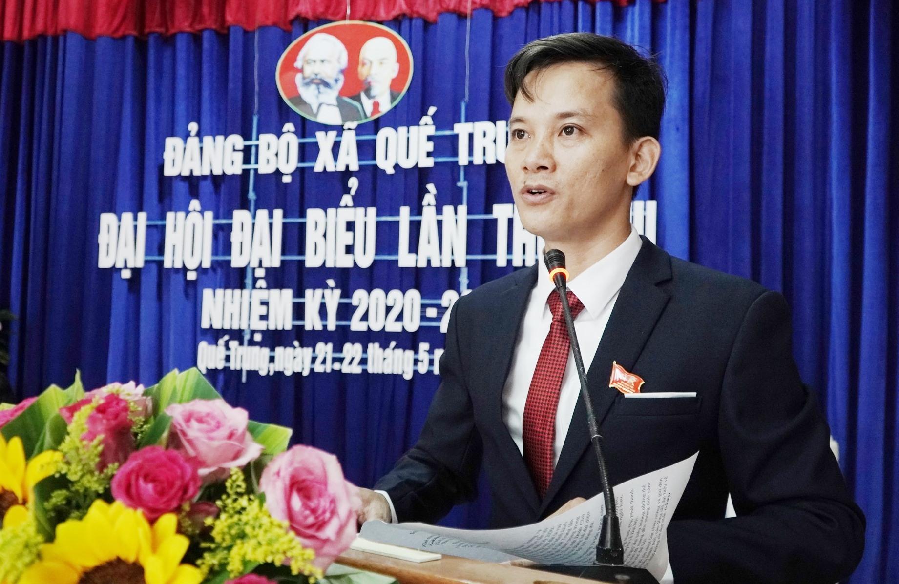 Ông Trà Tiến Tài tái đắc cử chức danh Bí thư Đảng ủy xã Quế Trung nhiệm kỳ 2020 - 2025. Ảnh: PHAN VINH