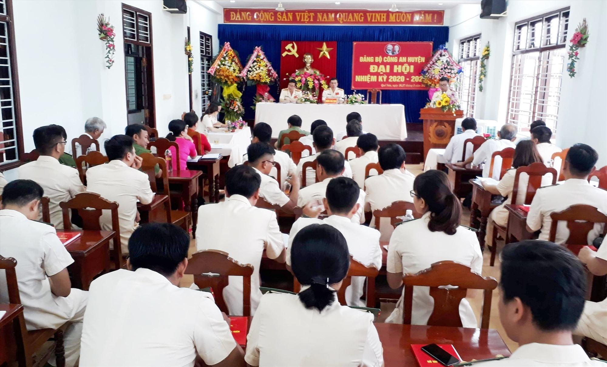 Đại hội Đảng bộ Công an huyện Quế Sơn nhiệm kỳ 2020 - 2025. Ảnh: DUY THÁI