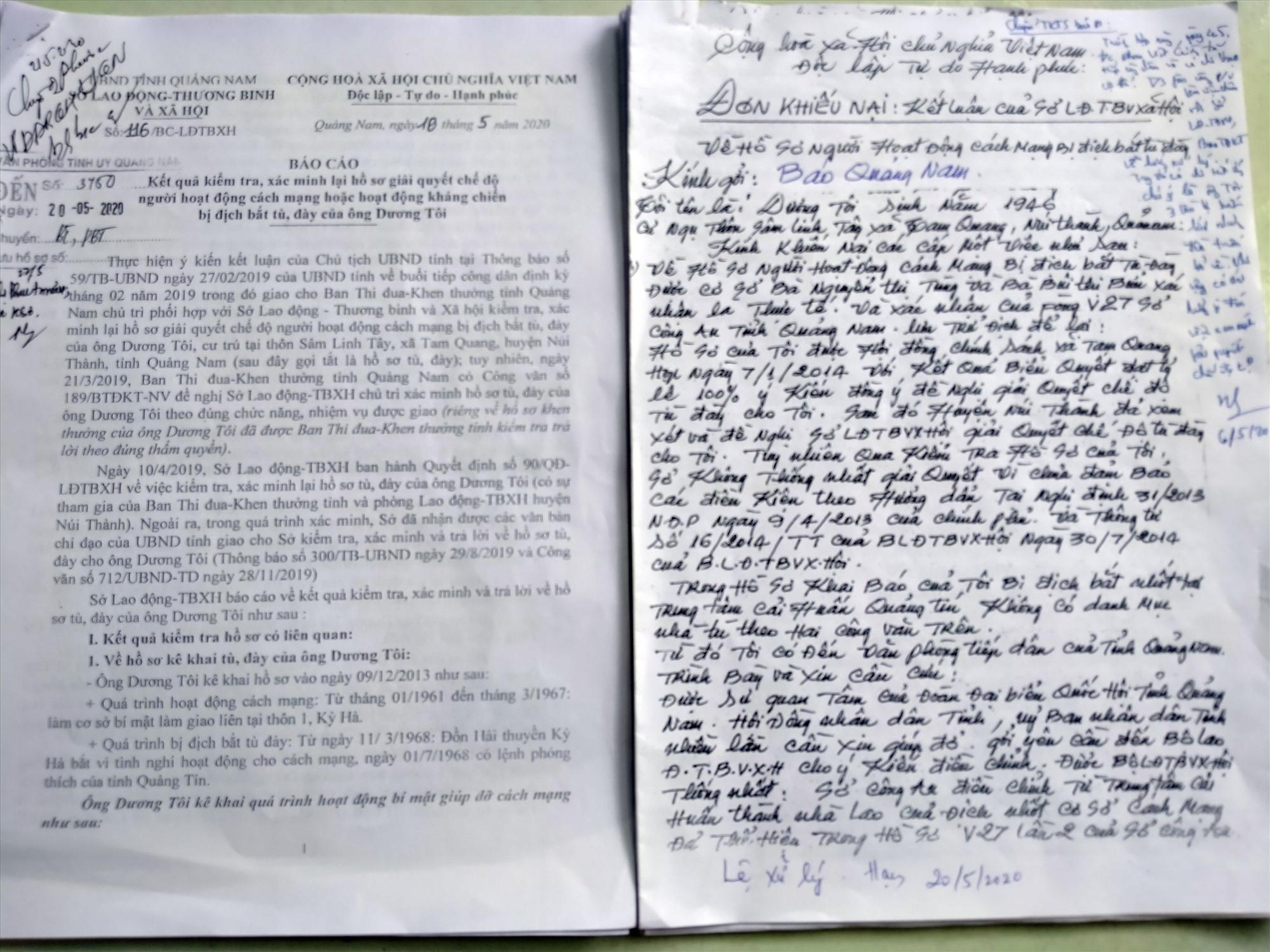 Đơn khiếu nại của ông Dương Tôi và báo cáo của Sở LĐ-TB&XH về kết quả kiểm tra, xác minh lại hồ sơ giải quyết chế độ tù đày của ông Tôi. Ảnh: N.Đ
