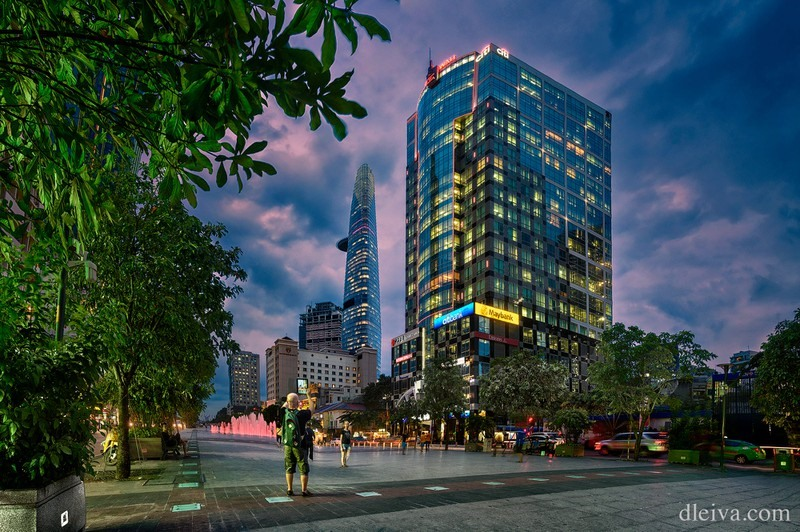 Magnificent buildings from Nguyen Hue walking street in Ho Chi Minh city