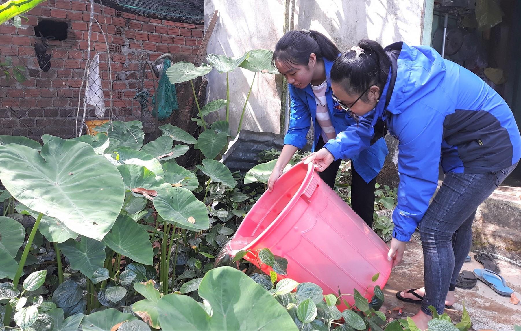 Thanh niên Điện Bàn xử lý các dụng cụ chứa nước tránh muỗi đẻ trứng. Ảnh: THÀNH NHÂN
