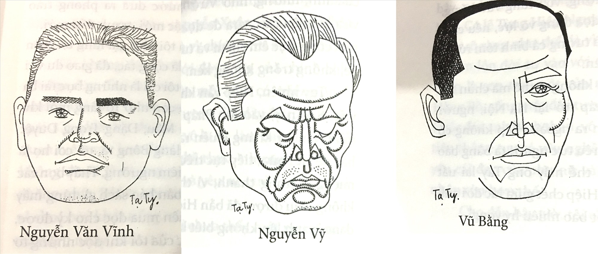 """Ký họa chân dung Nguyễn Văn Vĩnh, Nguyễn Vỹ, Vũ Bằng của Tạ Tỵ, in trong cuốn Bốn mươi năm """"nói láo""""."""