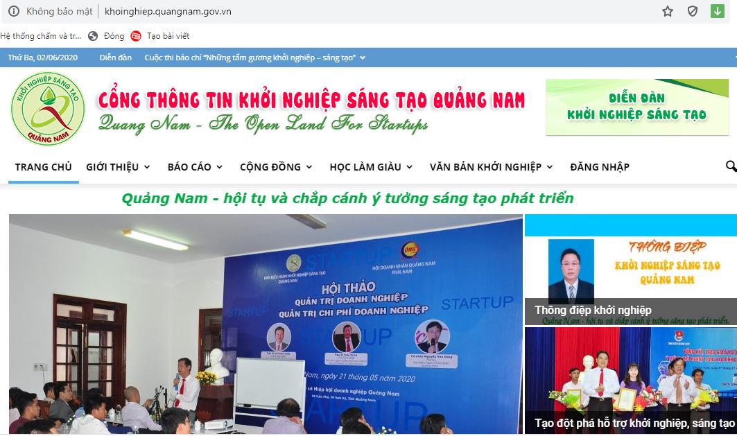 Giao diện website Cổng thông tin Khởi nghiệp đổi mới sáng tạo Quảng Nam. Ảnh chụp màn hình.