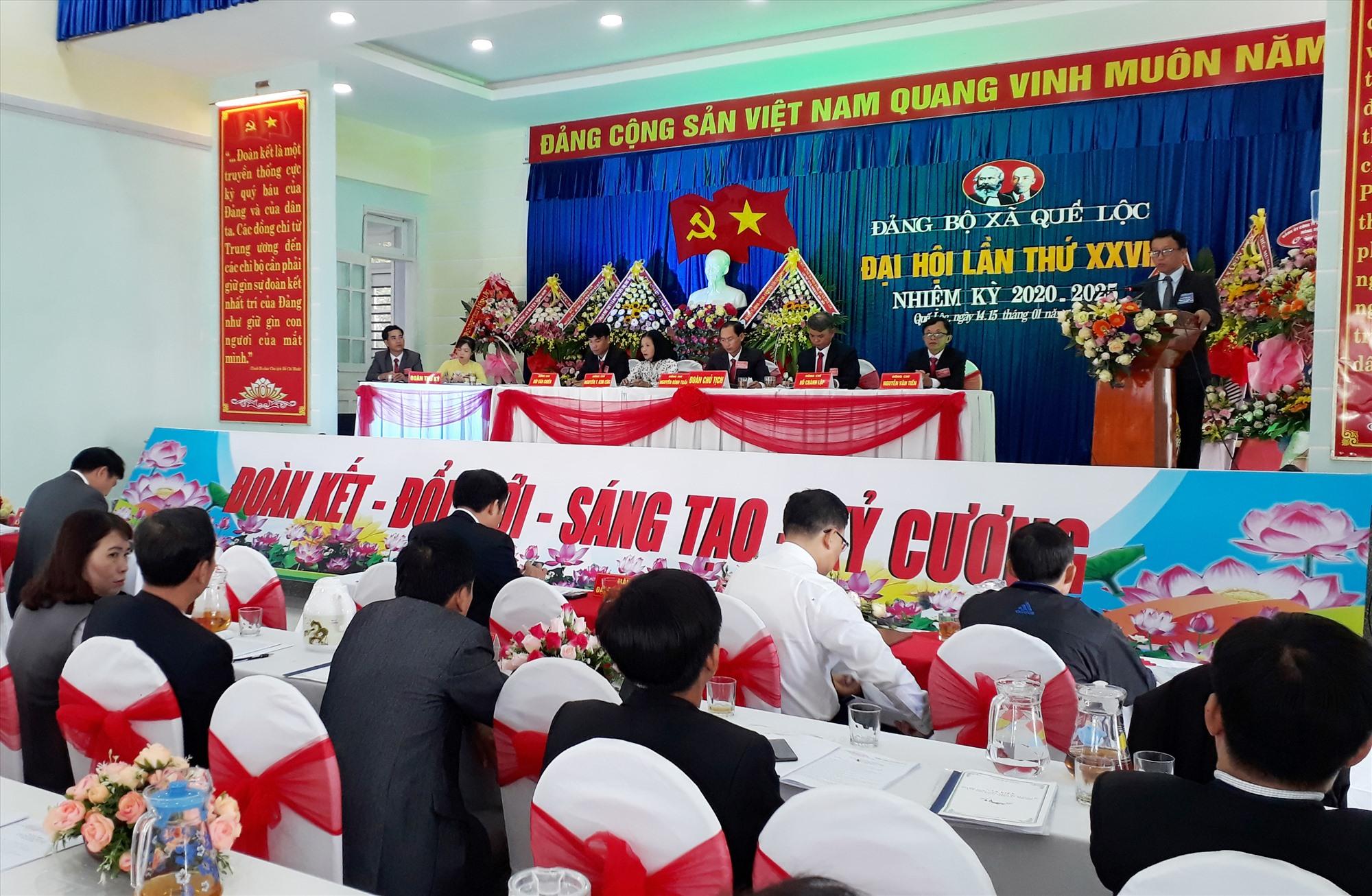 Đại hội Đảng bộ xã Quế Lộc (Nông Sơn) nhiệm kỳ 2020 - 2025. Ảnh: M.TÂM