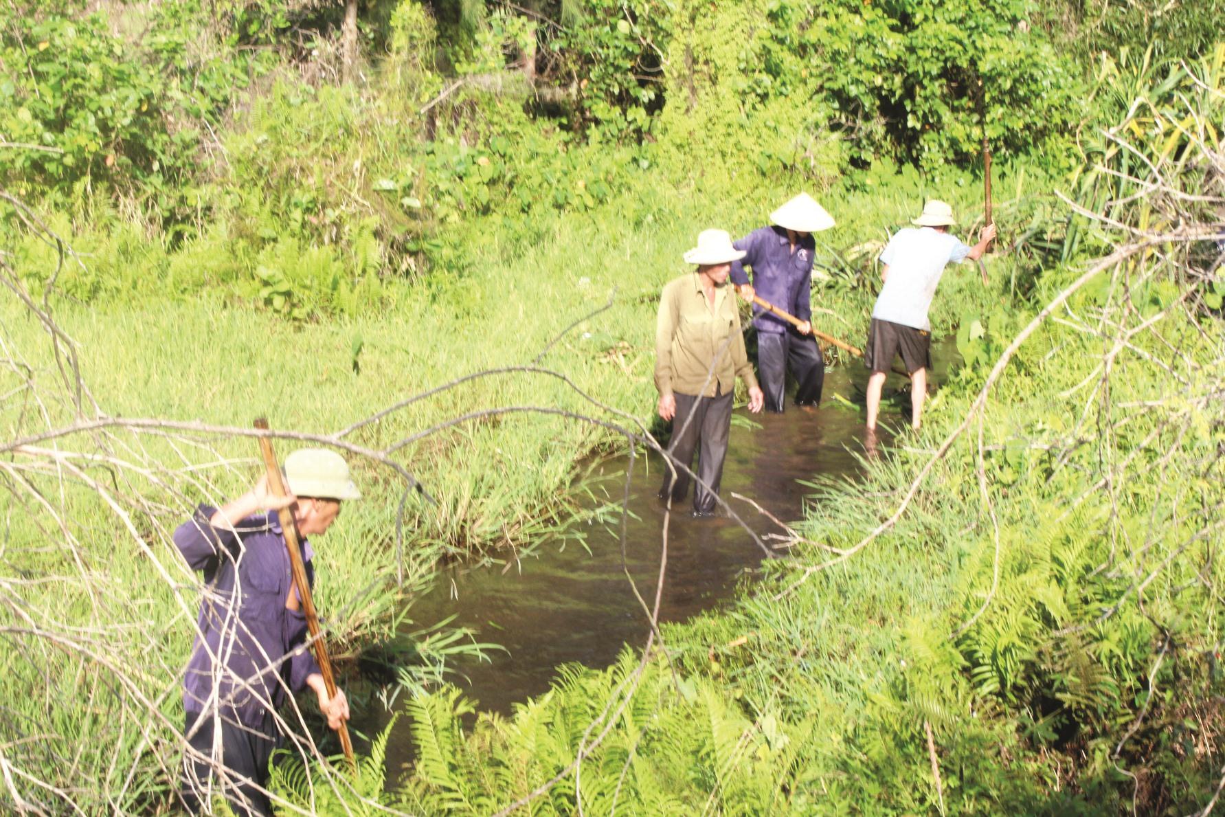 Nông dân Núi Thành phát cây cối, nạo vét kênh mương. Ảnh: VĂN PHIN