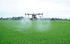 A drone working on the field of Vinh Xuan hamlet