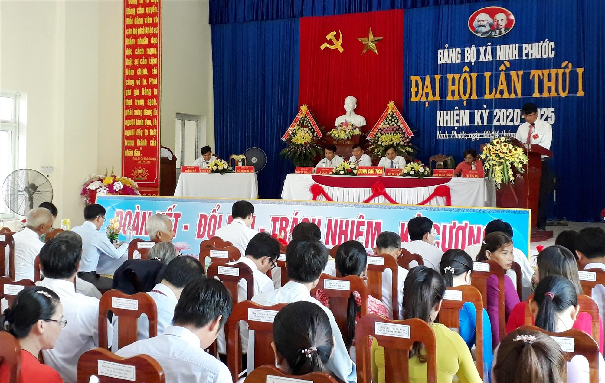 Quang cảnh đại hội Đảng bộ xã Ninh Phước (Nông Sơn) lần thứ I, nhiệm kỳ 2020 - 2025.