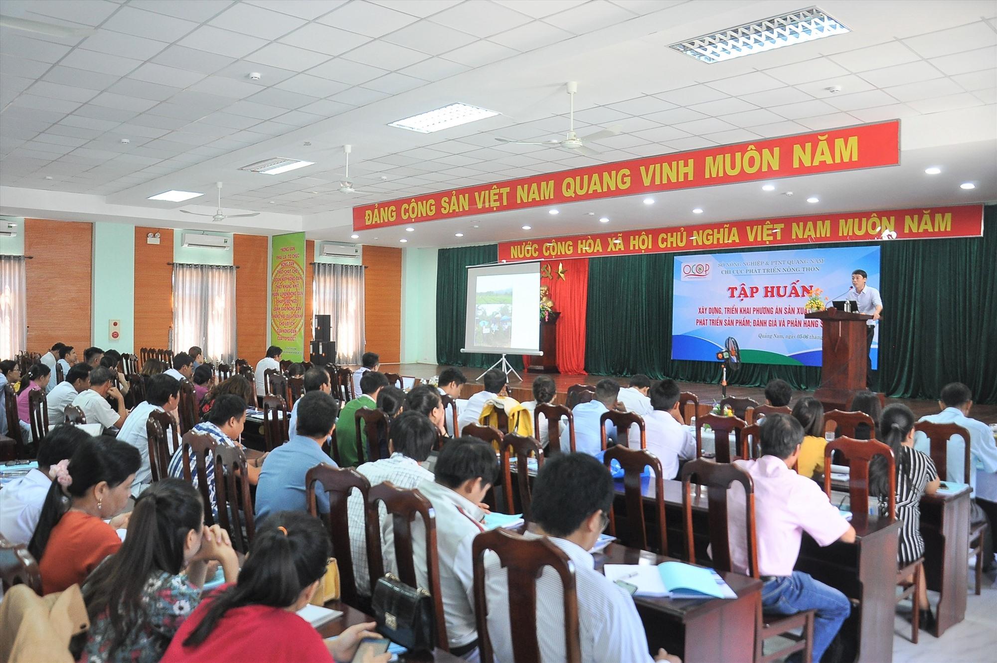 Hơn 150 đại biểu tham gia lớp tập huấn về chương trình OCOP năm 2020. Ảnh: VINH ANH