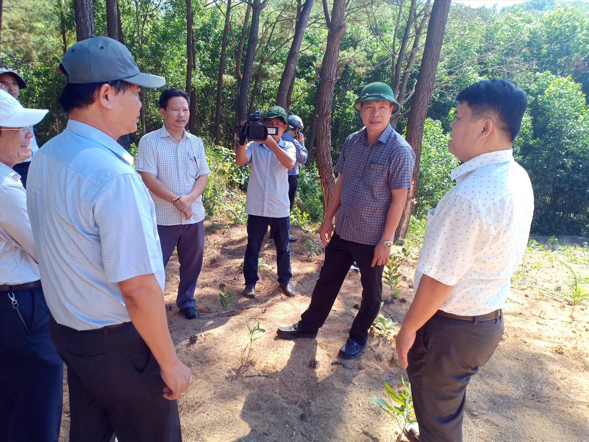 Phó Chủ tịch UBND tỉnh Hồ Quang Bửu kiểm tra tiến độ thi công các dự án tại Núi Thành. Ảnh: T.H