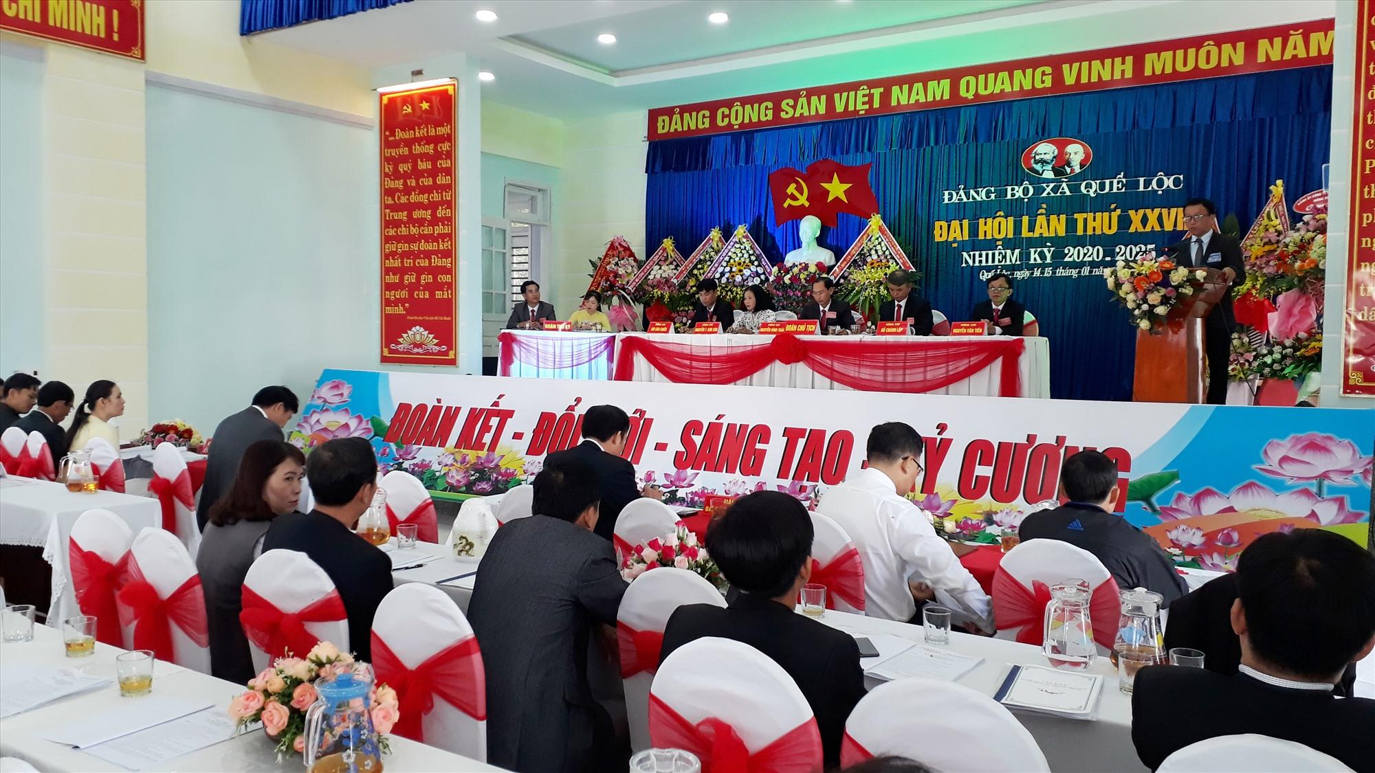 Đại hội Đảng bộ xã Quế Lộc (Nông Sơn) nhiệm kỳ 2020-2025. Ảnh: M.T
