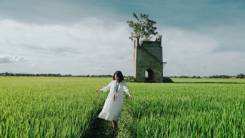 Duy Vinh brick kiln is another place fascinating to the young. It is an abandoned old brick kiln located in the middle of a spacious rice field. To go there, visitors have to go across the Cau Lau bridge. Photo: Zingnews