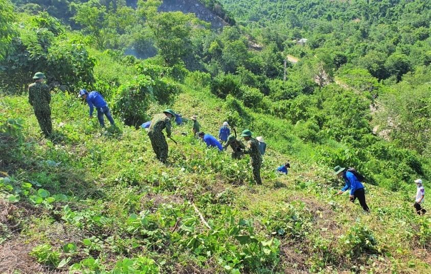Khai hoang diện tích trồng cây ăn quả cho Làng Thanh niên lập nghiệp. Ảnh: T.ĐẠT