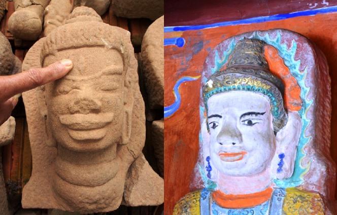 Hai đầu tượng Chăm tại Quá Giáng (đầu tượng thờ trong miếu và tượng phát hiện năm 2014).