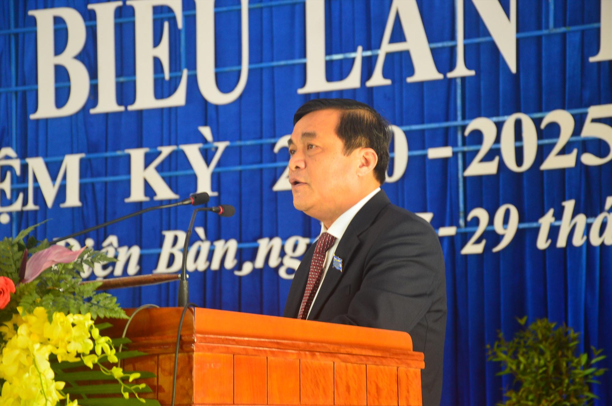 Bí thư Tỉnh ủy Phan Việt Cường phát biểu chỉ đạo đại hội tại Điện Bàn. Ảnh: Q.T