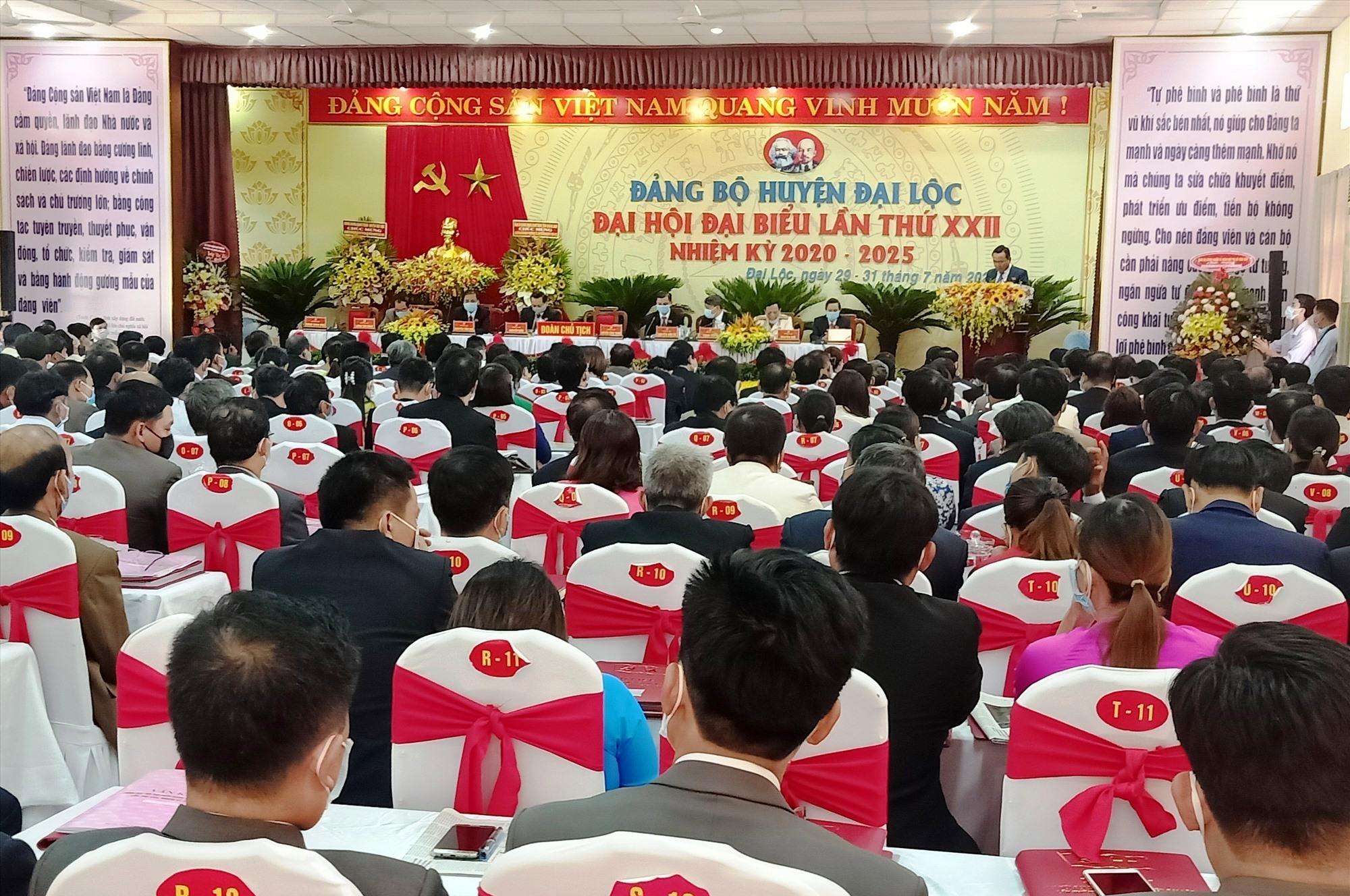Quang cảnh Đại hội đại biểu Đảng bộ huyện Đại Lộc lần thứ XXII (nhiệm kỳ 2020 - 2025). Ảnh: HOÀNG LIÊN