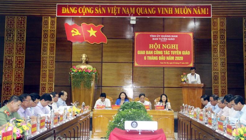 Hội nghị giao ban công tác Tuyên giáo 6 tháng đầu năm 2020. Ảnh: Đ.K