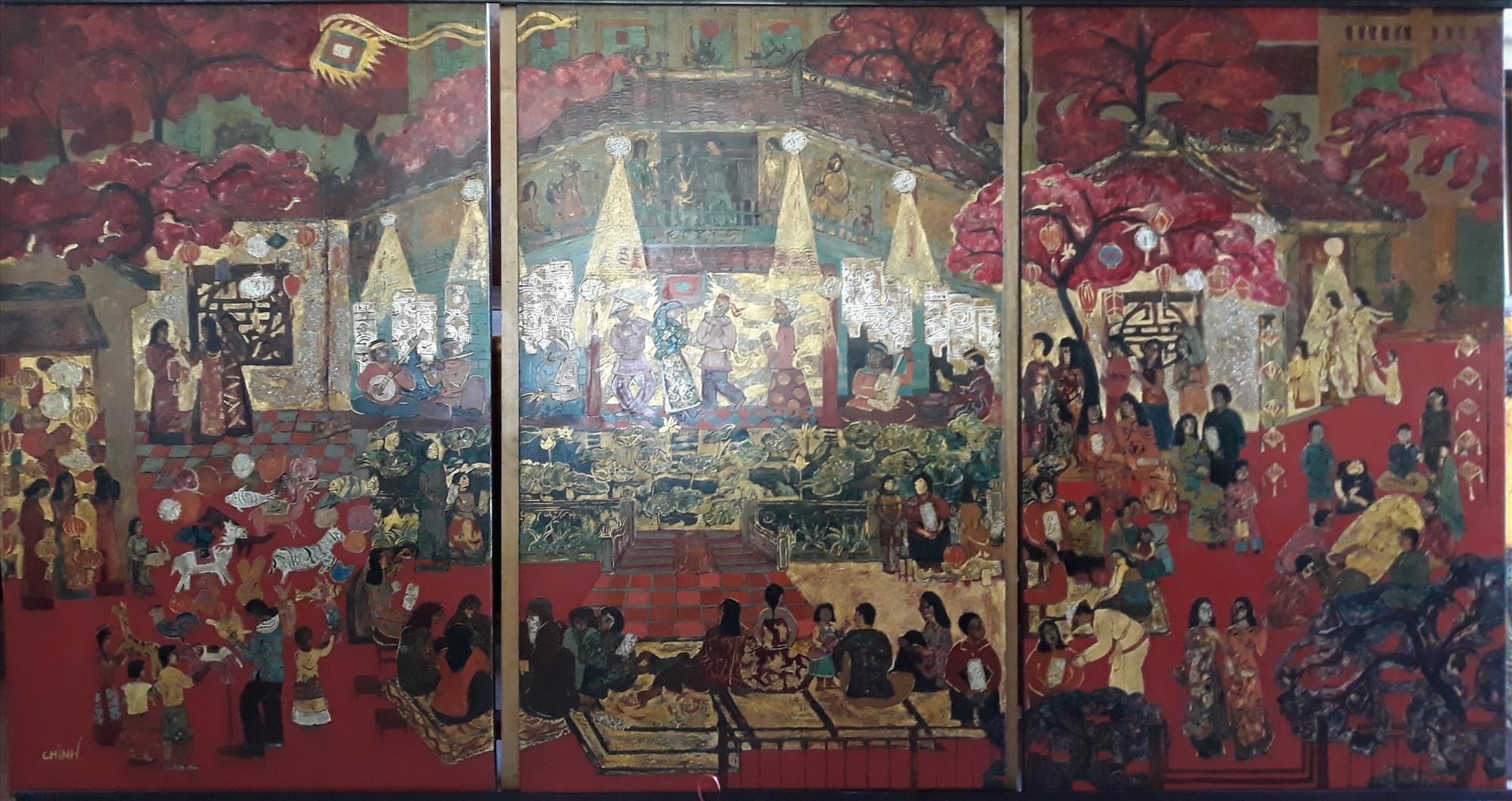 """""""Đêm hội"""" - tranh sơn mài của Lê Đình Chinh, giải B. Ảnh: VHNT"""