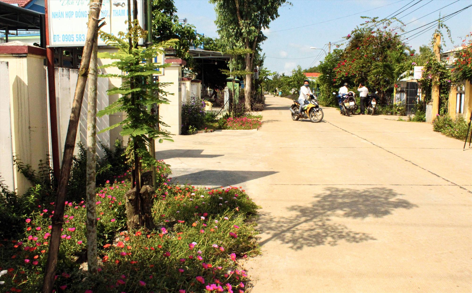 Nhiều tuyến đường giao thông nông thôn được người dân trồng hoa, cải tạo cảnh quan. Ảnh: V.P