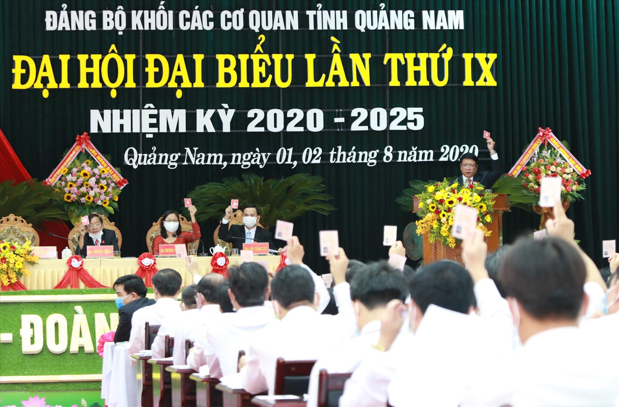 Đại hội đại biểu Đảng bộ Khối các cơ quan tỉnh nhiệm kỳ 2020 - 2025 đã nghiêm túc phân tích, đề ra giải pháp thực hiện hiệu quả chỉ tiêu đại hội đề ra. Ảnh: N.ĐOAN