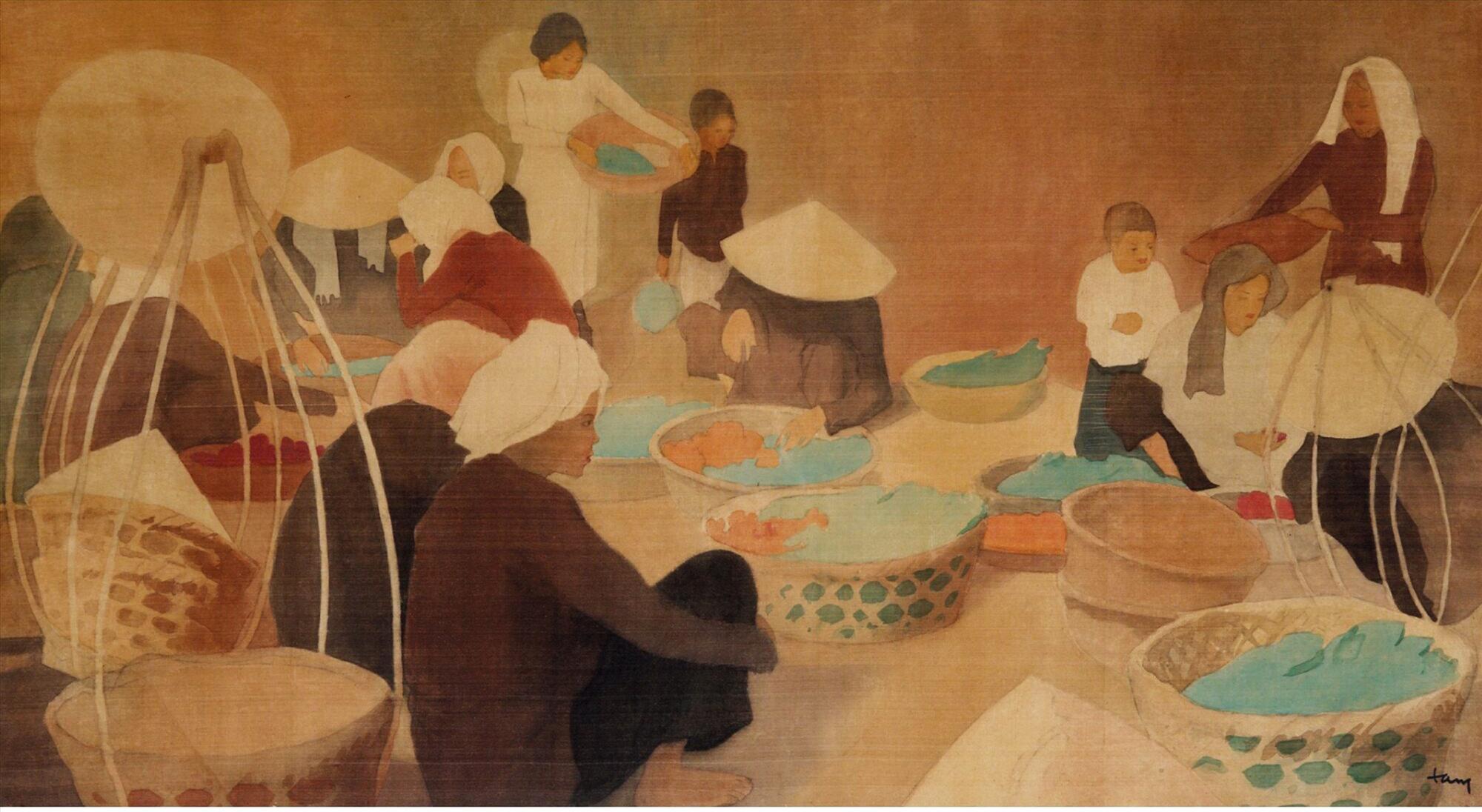 """Bức tranh """"Cảnh phố chợ Đông Dương"""" (Scène de Marché de rue Indochinois, mực và gouache trên lụa, 51cm x 92cm) của Nhất Linh bất ngờ tái xuất hiện tại Sotheby's Hong Kong hồi 4.10.2010, bán 596.000 HKD, tương đương 76.801 USD."""