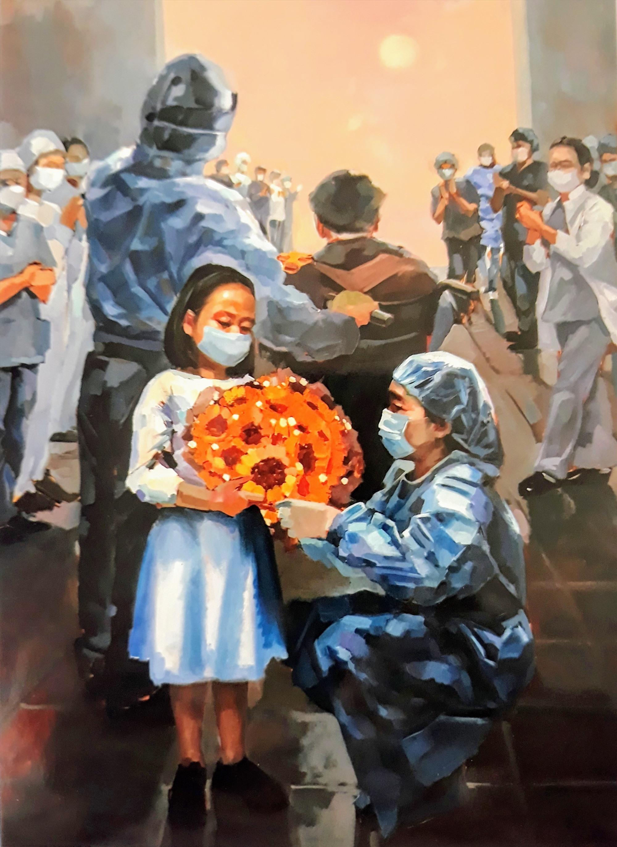 """""""Những đóa hướng dương"""", tranh sơn dầu của Hà Châu, sáng tác trong đợt dịch Covid-19 hồi đầu năm, được chọn trưng bày tại Triển lãm Mỹ thuật Nam miền Trung-Tây Nguyên 2020. Ảnh: T.G"""