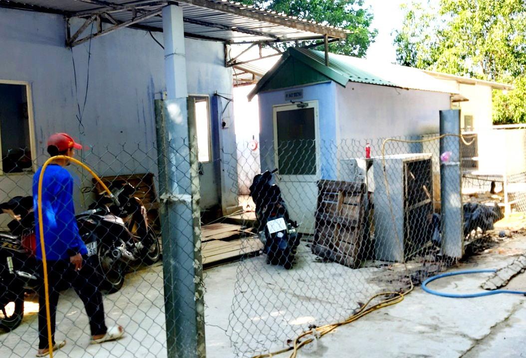Trang trại nuôi heo gây ô nhiễm môi trường ở thôn Lý Trường (xã Bình Phú, Thăng Bình) cửa đóng then cài, không cho người bên ngoài đi vào. Ảnh: VIỆT NGUYỄN