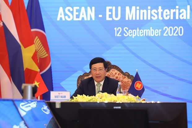 Deputy Prime Minister and Foreign Minister Pham Binh Minh speaks at the ASEAN-EU Ministerial Meeting (Photo: VNA)