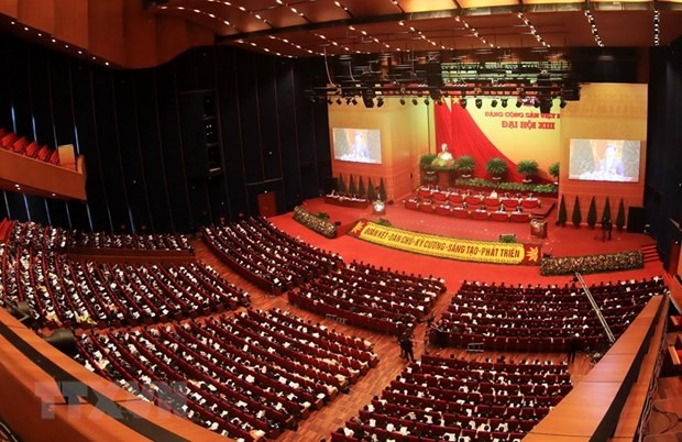 Documents submitted to the 13th National Party Congress were debated at a plenary session in Hanoi on January 27. (Photo: VNA)