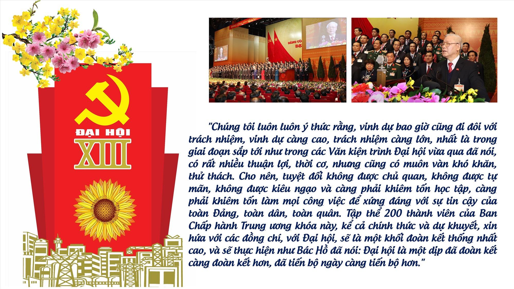 Thay mặt Ban Chấp hành Trung ương Đảng khóa XIII, Tổng Bí thư, Chủ tịch nước Nguyễn Phú Trọng phát biểu ra mắt Đại hội
