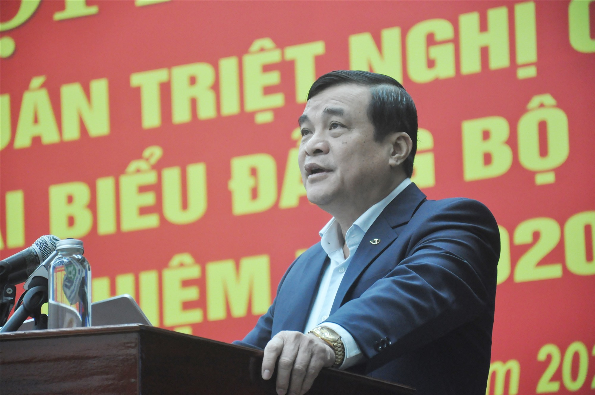 Ủy viên Trung ương Đảng, Bí thư Tỉnh ủy Phan Việt Cường phát biểu khai mạc hội nghị. Ảnh: N.Đ